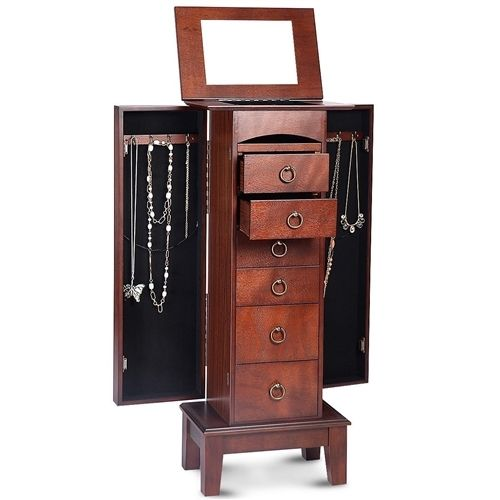 Medium Brown Wood Jewlery Armoire Storage Chest Cabinet with Mirror