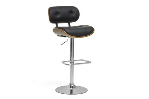 Baxton Studio Leona Walnut and Black Modern Bar Stool