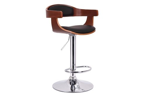Baxton Studio Garr Walnut and Black Modern Bar Stool
