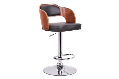 Baxton Studio Sitka Walnut and Black Modern Bar Stool