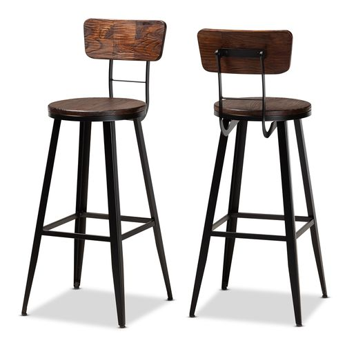 Baxton Studio Kenna Vintage Rustic Industrial Wood and Black Metal Finished 2-Piece Metal Bar Stool