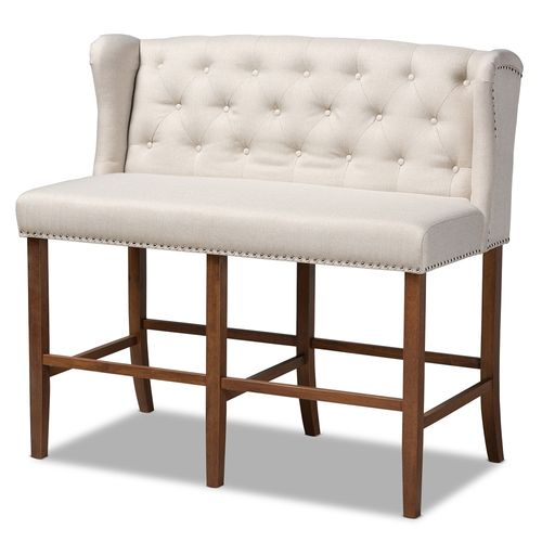Baxton Studio Alira Modern and Contemporary Beige Fabric Upholstered Walnut Finished Wood Button Tuf