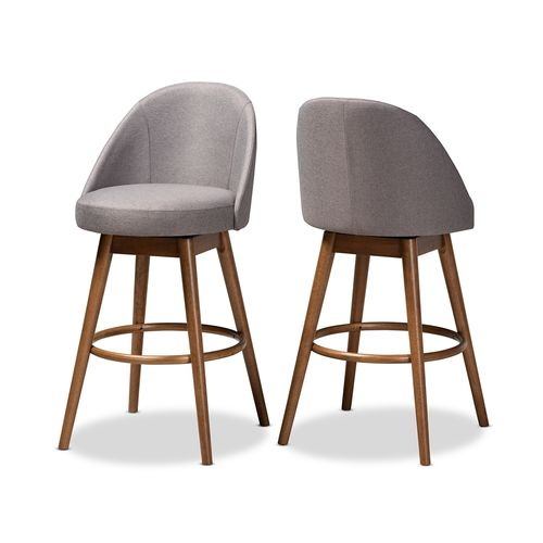 Baxton Studio Carra Mid-Century Modern Grey Fabric Upholstered Walnut-Finished Wood Swivel Bar Stool