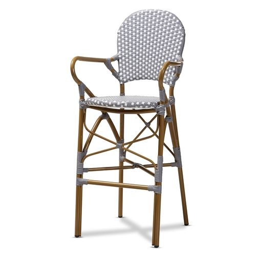 Baxton Studio Marguerite Classic French Indoor and Outdoor Grey and White Bamboo Style Bistro Stacka