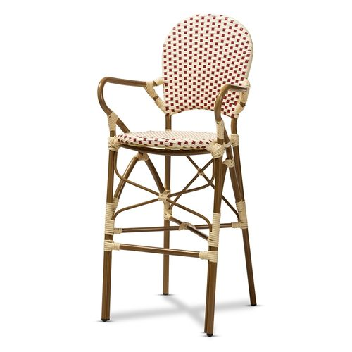 Baxton Studio Marguerite Classic French Indoor and Outdoor Beige and Red Bamboo Style Stackable Bist