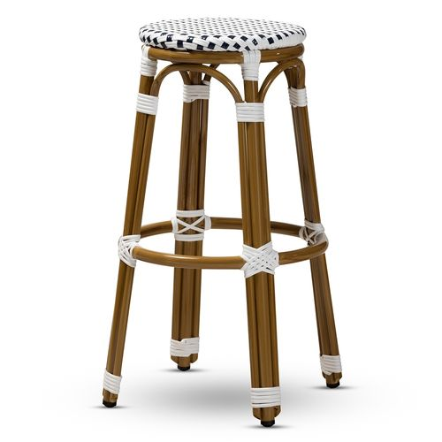 Baxton Studio Joelle Classic French Indoor and Outdoor Navy and White Bamboo Style Stackable Bistro