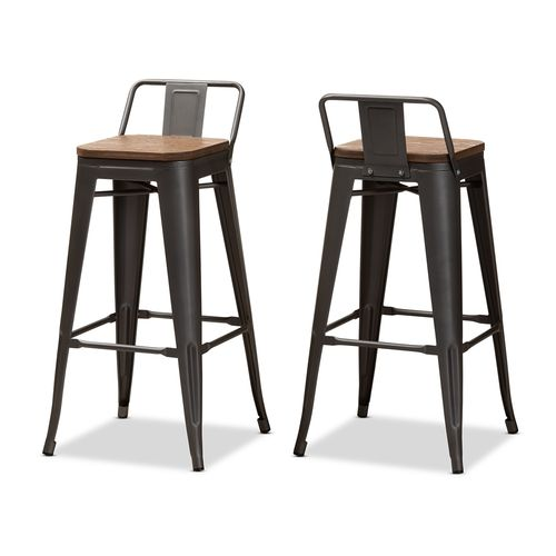 Baxton Studio Henri Vintage Rustic Industrial Style Tolix-Inspired Bamboo and Gun Metal-Finished Ste