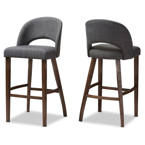 Baxton Studio Melrose Mid-Century Modern Dark Grey Fabric Upholstered Walnut Finished Wood Bar Stool