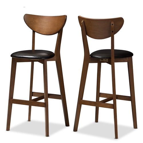 Baxton Studio Eline Mid-Century Modern Black Faux Leather Upholstered Walnut Finished Bar Stool (Set