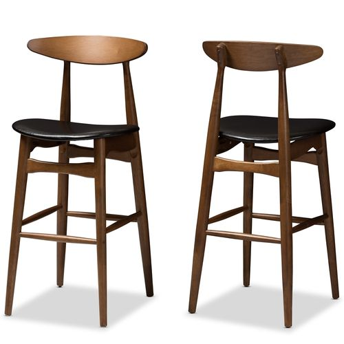 Baxton Studio Flora Mid-Century Modern Black Faux Leather Upholstered Walnut Finished Bar Stool (Set