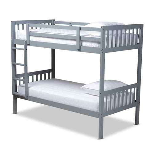 Baxton Studio Jude Modern and Contemporary Grey Finished Wood Twin Size Bunk Bed